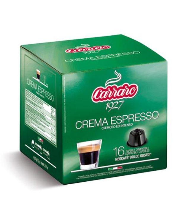 Caffe Carraro, Crema Espresso, Dolce Gusto, kapsule, kapsule za kavo, kava, kava v pisarni, kavne kapsule, kavni aparat, kavni avtomati, Kompatibilne kapsule